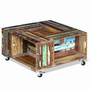 Masa de cafea din lemn solid reciclat, 70 x 70 x 35 cm - V243306V