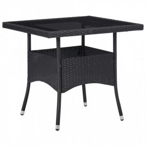 Masa de exterior, negru, poliratan si sticla - V46177V