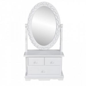 Masa de machiaj cu oglinda oscilanta ovala, MDF - V60627V