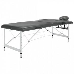Masa de masaj cu 2 zone, cadru aluminiu, antracit, 186 x 68 cm - V110174V
