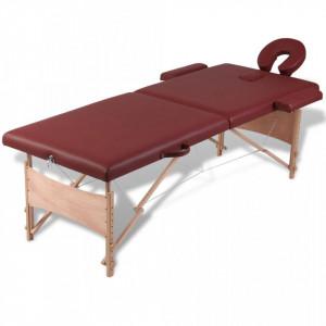 Masa de masaj pliabila 2 parti cadru din lemn Rosu - V110076V