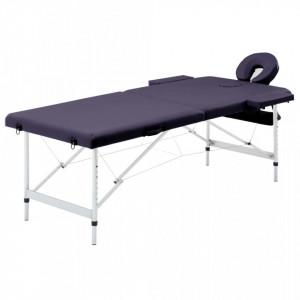 Masa de masaj pliabila, 2 zone, violet vin, aluminiu - V110196V