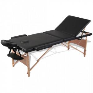 Masa de masaj pliabila 3 parti cadru din lemn Negru - V110081V