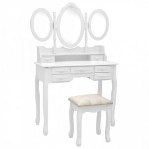 Masa de toaleta cu taburet si oglinda triptic, alb - V289326V