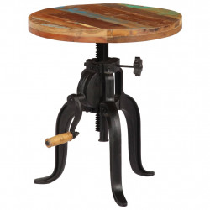 Masa laterala, 45x (45-62) cm, lemn masiv reciclat si fonta - V247588V