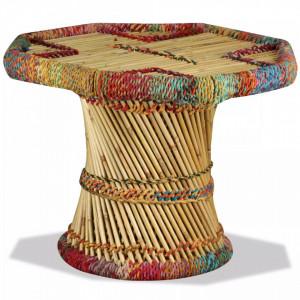 Masuta de cafea, bambus, cu detalii chindi, multicolor - V244214V