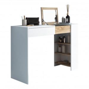 Măsuţă de toaletă/masă de scris, alb/stejar sonoma, ELIS