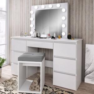 MBMT5 - Set Masa toaleta, 120 cm, cosmetica machiaj, masuta vanity, oglinda cu LED-uri - Alb sau Sonoma
