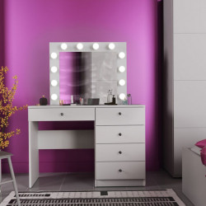 MBMT9 - Set Masa toaleta, 110 cm, cosmetica machiaj, masuta vanity, oglinda cu LED-uri - Alb