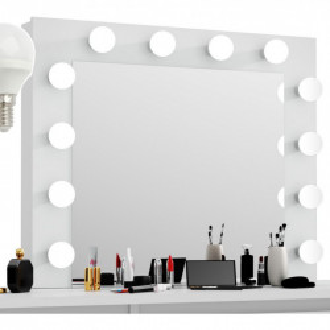 MBMTA12 - Set Masa toaleta, 112 cm, cosmetica machiaj, masuta vanity, oglinda cu LED-uri - Alb