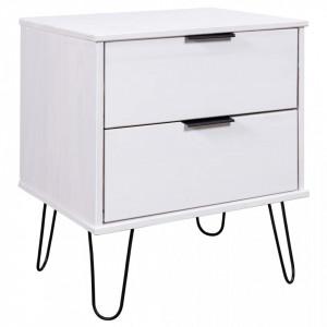 Noptiera, alb, 45 x 39,5 x 57 cm, lemn masiv de pin - V321117V
