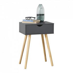 Noptiera cu sertar Ostersund, 60 x 40 x 29,5 cm, PAL/PVC, gri inchis - P73606250