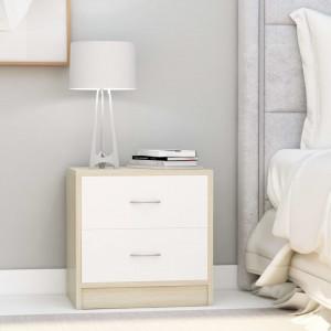 Noptiere, 2 buc., alb si stejar Sonoma, 40 x 30 x 40 cm, PAL - V801046V