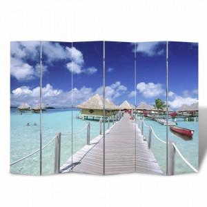 Paravan de camera pliabil, 240 x 170 cm, plaja - V240480V