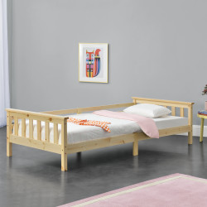 Pat copii Nuuk H200, 209 x 100 x 52 cm, lemn/furnir, culoarea lemnului de brad - P71303273
