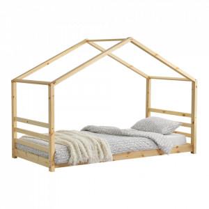 Pat copii Ravi, 206 x 98 x 142 cm, lemn de brad, lemn natur, cu grilaj lateral - P67166929