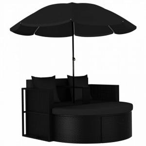 Pat de gradina cu umbrela de soare, negru, poliratan - V47398V