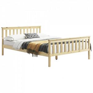 Pat lemn Wood, 208 x 188 x 82 cm, lemn de brad/pal, 200 Kg, culoarea lemnului natur, pentru 2 persoane - P65373552