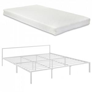 Pat rama metalica ImatraW180, 200 x 180 cm, otel, alb mat, cu saltea, dublu - P70599216