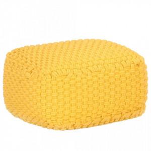 Puf tricotat manual, galben mustar, 50x50x30 cm, bumbac - V287602V