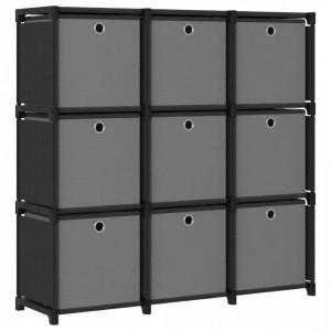 Raft 9 cuburi cu cutii, negru, 103x30x107,5 cm, material textil - V322611V