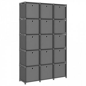 Raft expunere 15 cuburi, cutii, gri 103x30x175,5 cm, textil - V322621V