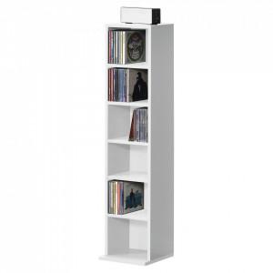 Raft pentru CD AANF-6401, 90 x 20 x 20 cm, PAL melaminat, alb cu 6 compartimente depozitare - P57657912