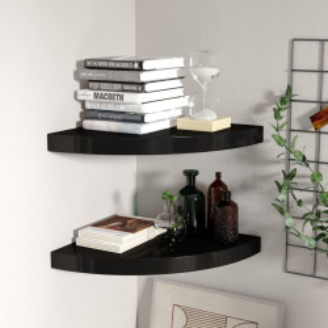 Rafturi colt de perete, 2 buc., negru, 35x35x3,8 cm, MDF - V323920V