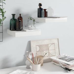 Rafturi de perete, 2 buc., alb extralucios, 23x23,5x3,8 cm, MDF - V323740V