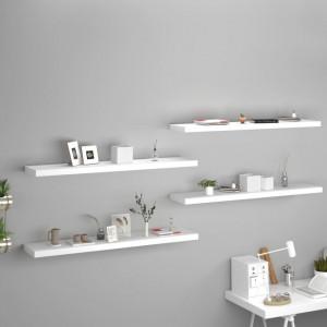 Rafturi de perete, 4 buc., alb, 120 x 23,5 x 3,8 cm, MDF - V323822V