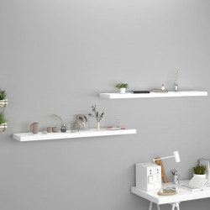 Rafturi de perete suspendate, 2 buc., alb, 120x23,5x3,8 cm, MDF - V323821V