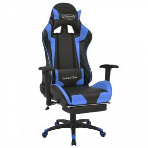 Scaun birou rabatabil, design racing, suport picioare, albastru - V20177V