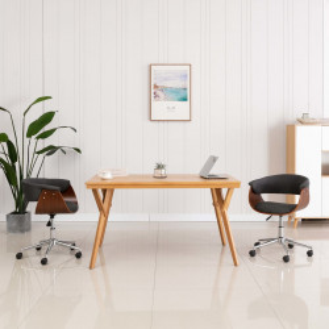 Scaun de birou pivotant, gri, lemn curbat si material textil - V3054834V