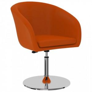 Scaun de bucatarie, portocaliu, piele ecologica - V323173V