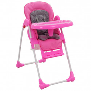 Scaun de masa inalt pentru copii, roz si gri - V10186V