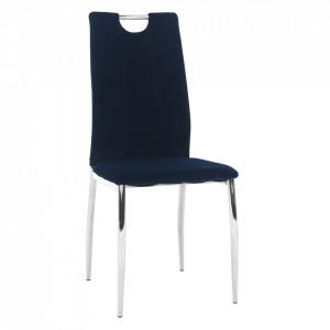 Scaun de masă, ţesătură albastră din catifea / crom, OLIVA NEW