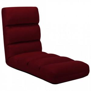 Scaun de podea pliabil, rosu vin, piele ecologica - V325249V