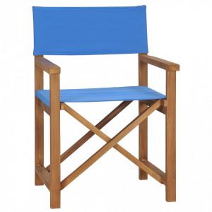 Scaun de regizor, albastru, lemn masiv de tec - V47412V