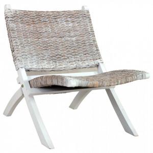 Scaun relaxare, alb & natural, ratan kubu & lemn masiv de mahon - V285800V