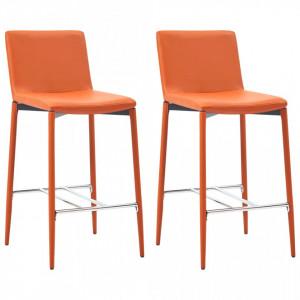 Scaune de bar, 2 buc., portocaliu, piele ecologica - V281520V