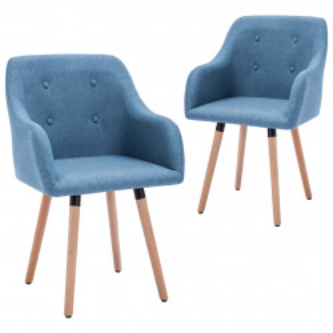 Scaune de bucatarie, 2 buc., albastru, material textil - V322985V