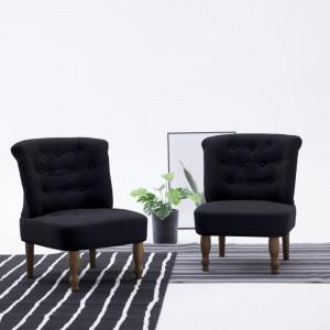 Scaune stil frantuzesc, 2 buc., negru, material textil - V282135V