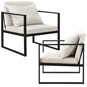 Set 2 bucati fotolii design - 70 x 60cm - cu perna pentru spate - culoarea nisipului - P55221106