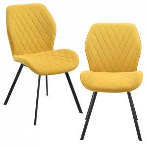 Set 2 bucati scaune design Sarpsborg S, , 89 x 51 x 64 cm, metal/poliester, galben - P71742136