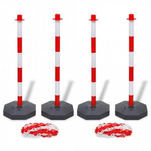 Set 4 stalpi de blocare & 2 lanturi de plastic, 10 m - V3057525V