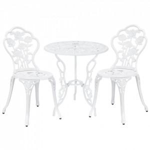 Set bistro Dina, masa rotunda 60 x 67 cm, scaun 42 x 83 cm, metal, alb - P41047848