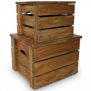 Set cutii de depozitare 2 bucati, lemn masiv reciclat - V244498V