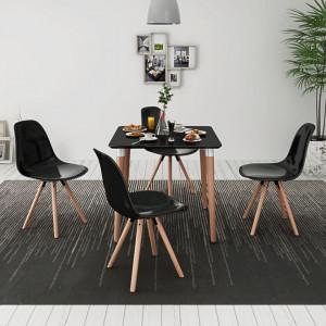 Set de masa si scaune de bucatarie, cinci piese, negru - V243560V