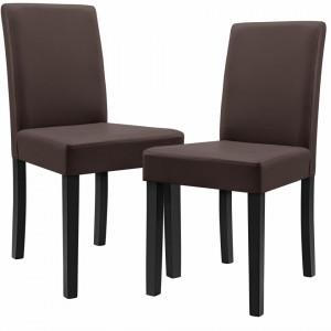 Set Dorina 2 scaune bucatarie, 90 x 42 cm, piele sintetica, forma sezut trapezoidala, maro - P49840209