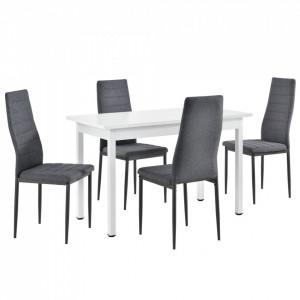 Set elegant Diana masa cu 4 scaune, masa 120 x 60 x 75 cm, scaun 96 x 43 x 52 cm, MDF/metal, alb/gri - P61814287